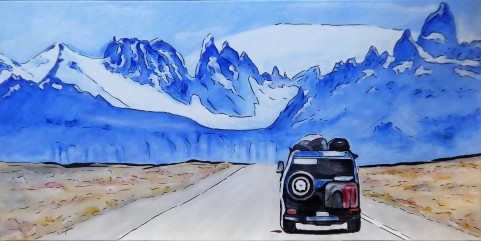 """""""Blue Ice"""" 340€ - 100X50 cm Gouache/Acrylique /Encre"""