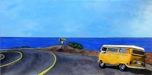 """""""Holyday Road"""" - 20x20 cm - Acrylique/Encre/Résine"""