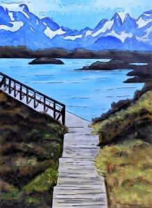 """""""Water Walk"""" - 50x70 cm - Acrylique/Encre/Résine"""