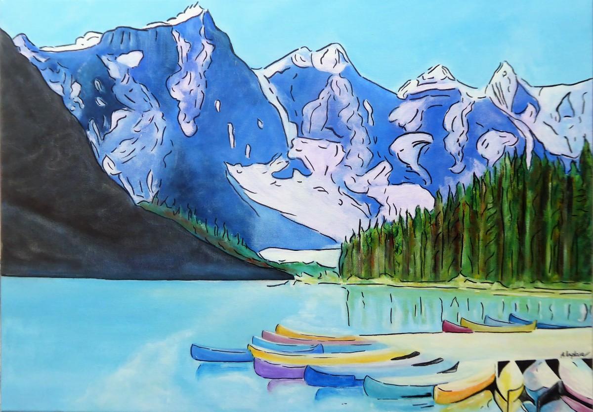 """""""Lac Moraine"""" 250€ - 70x50 cm - Gouache/Acrylique/Encre"""